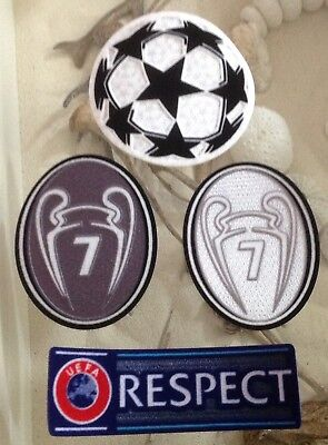 Set Of UCL UEFA Champions League Respect Star Ball Trophy 7 Silver Patch Badge