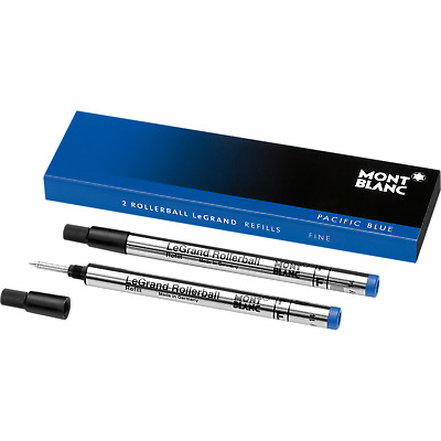 Montblanc 2 Pacific Blue Rollerball Le Grand Ink Refills Fine~ BRAND New in Box