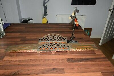 Bing Gauge 1 3 rail Bridge and twin signal excellent tin plate