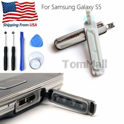 3pcs Silver USB Charging Port Cover Cap Tools For Samsung Galaxy S5 G900 w/ New