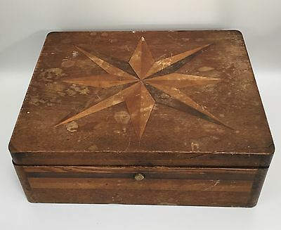 Antique Early American Hand-crafted Wooden Sewing Box w/ Starburst Lid (RF519)