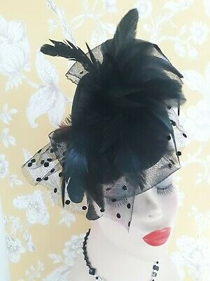 Ladies Black Feather and Bow Fascinator Wedding. Races. Event.