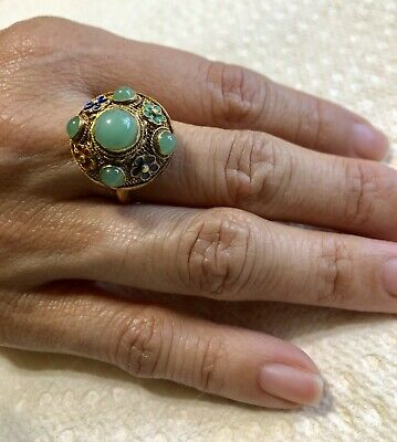 Antique Chinese Export Silver Ring Enamel & Chrysoprase