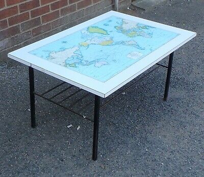 1950s vintage midcentury gobal map iron melamine coffee occasional side table