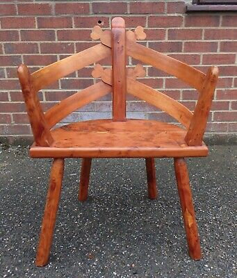 Arts & Crafts antique style solid burr yew wood boatmans slatted armchair chair