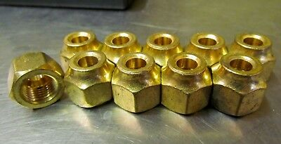 "New lot of 10 1/4"" Short Forged Brass Refrigeration 45° Flare Nuts"