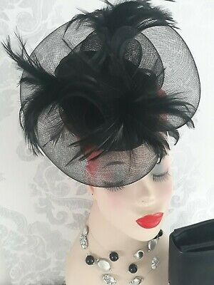 Ladies Black Feather and flower  Fascinator Wedding. Races. Event.