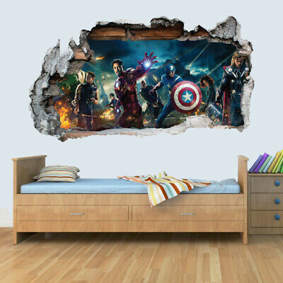 Marvel Avengers Vinyl Smashed Wall Art Decal Stickers Bedroom Boys Girls 3D