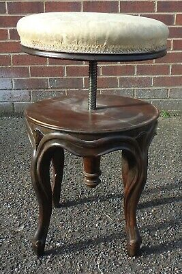 Victorian French antique solid carved walnut adjustable upholstered piano stool