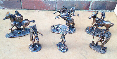 Tudor Mint Native Americans Bronze figurine Collection of 6 Boxed.