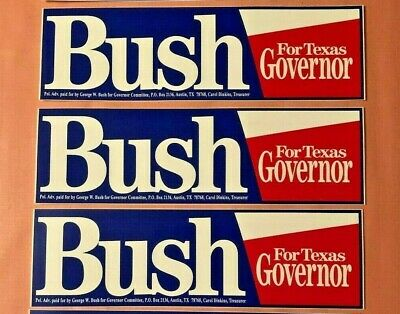 Lot of 3 Vintage George W Bush for Texas Governor Campaign Bumper Stickers MINT