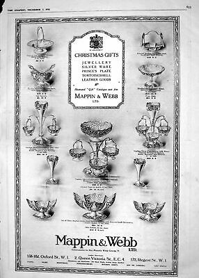 Old Print *6036 1918 Mappin Webb Christmas Gifts Jewellery Leather Silver