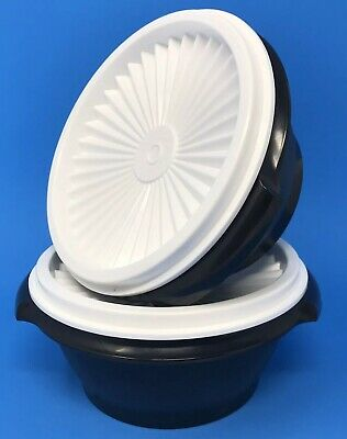 Tupperware Servalier Bowls 10 oz. Set of 2 Containers Black #1323 New