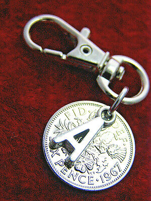 Initial Birthday gift 1920-1967 lucky Sixpence coin keyring 80th 70th 65th 60th