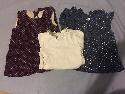 H&M Bundle Blue Cord Stars Burgundy Spot & Body Jumpsuit All In One 18-24 Months