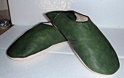 VERY SOFT LEATHER SLIPPERS / MULES * GREEN  11/45 From Morocco