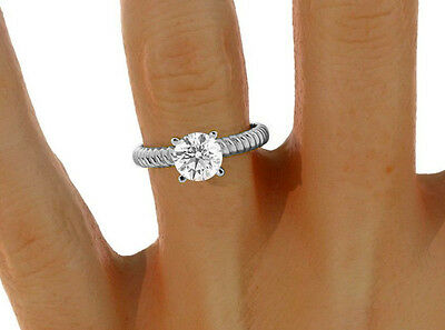 1.05 CT D/VS2 Round Cut Solitaire Diamond Engagement Ring 14K W/Gold ENHANCED