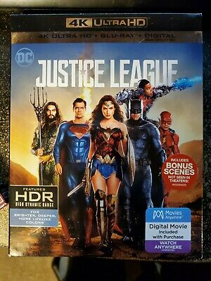 Justice League Blu-ray Disc 2018 4K Ultra HD Blu-ray/Blu-ray & Slipcover
