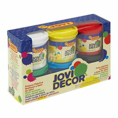Pintura Plástica JOVI Decor 55 ml en base latex, Caja x6 Colores