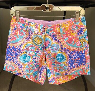 e27ac0af304ae2 Lilly Pulitzer Callahan Shorts Written In The Sun Seashells Size 00 XXS XS