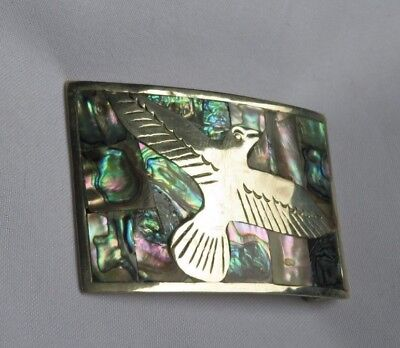 Eagle Bird Mexico Mexican Abalone Shell Belt Buckle Jewelry Vintage (ac711)