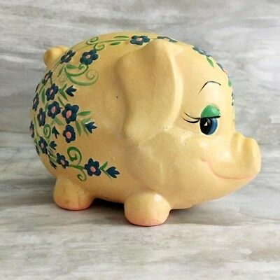 Vintage Ceramic Piggy Bank Blue Flowers Cute Coin Bank Made in Taiwan