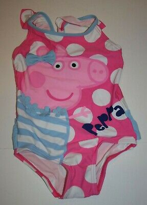 New Peppa Pig Girls Swimsuit 3T 4T One Piece Swimming Suit Pink Polka Dots