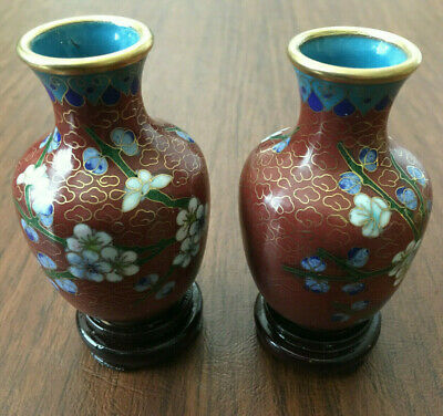 SET of 2 Chinese Cloisonne Vase & Wood Stand Bronze Brass Enamel Cherry Blossom