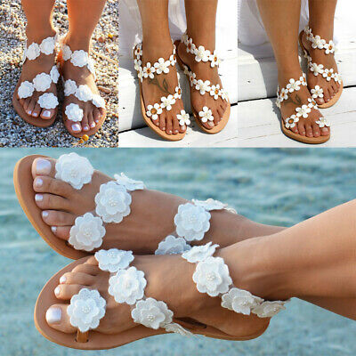 Womens Summer Boho Floral Sandals Ladies Holiday Beach Flip Flop Flat Shoes Size