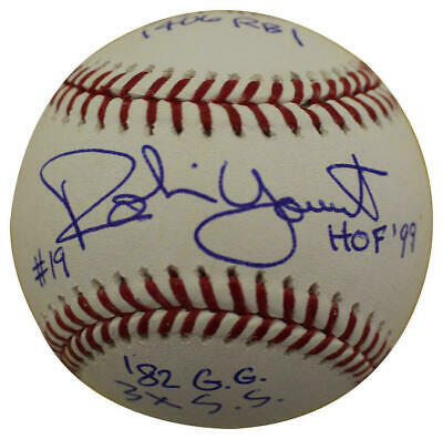 Robin Yount Autographed/Signed Milwaukee Brewers OML Baseball 6 Insc JSA 23879