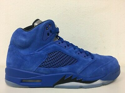 86b7675815c Nike Air Jordan 5 Retro Game Royal Black Blue Suede 136027-401 Mens Size 12