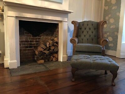 Chesterfield Queen Anne Wing Back Chair & Footstool Harris Tweed & Tan Leather