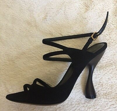 c09ceb17a3 DONNA KARAN COLLECTION Shoes 👠Slingback Lace Up Black Velvet Italy ...
