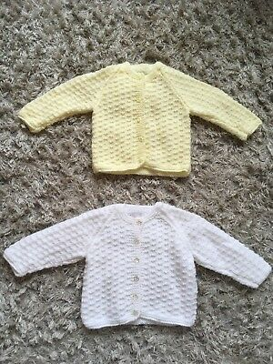 Baby Girls Hand Knitted Cardigans Size 0-3 Months Brand New White & Yellow