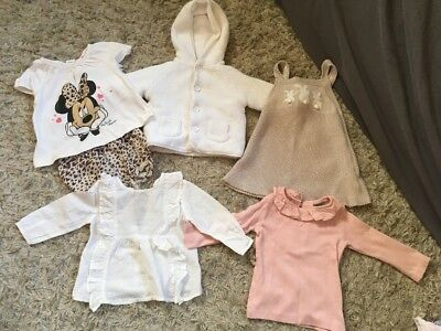 Baby Girls Next H&M Bundle 3-6 Months Top Blouse Bunny Dress Jacket Minnie Mouse