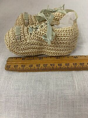 Vintage Crochet Baby Booties With Blue Ribbon
