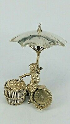 1908 Miniature silver cherub fairy selling love hearts by Berhold Muller Chester