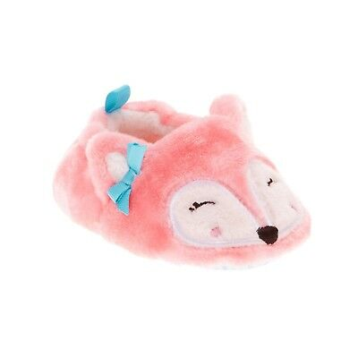 Walmart Brand Infant Girls Pink Fox Slippers Shoes Size 2 New