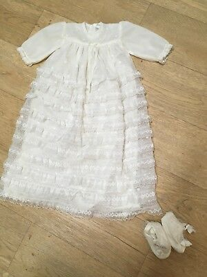 Vintage Christening Gown Outfit Long Nylon Lace 0-6 Months Dress & Shoes Romany