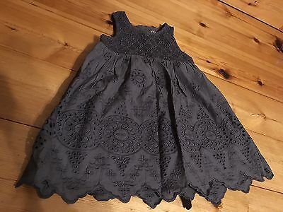 Next Girls Grey Broderie Anglaise Tiered Dress Cotton VGC Party Light