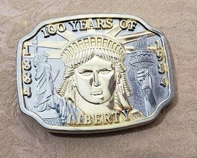 Vintage 100 years of Liberty 1884 - 1984 Belt Buckle Statue of Liberty USED