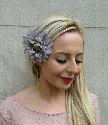 Grey Dahlia Rose Flower Hair Clip Fascinator Wedding Floral Bridesmaid 7158