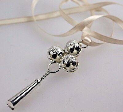 Baby Rattle Silver 925 Vintage Style Babies Whistle 3 Bells