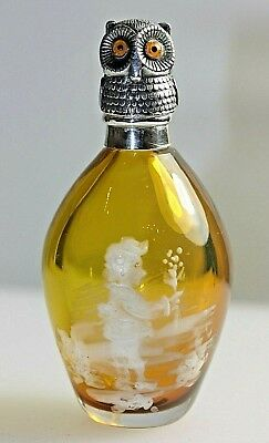 Mary Gregory Amber Glass Silver Owl Bird Top Scent Perfume Bottle