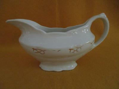 Wood and Son Royal Semi Porcelain England Gravy Boat White Gold Vintage Pre Own