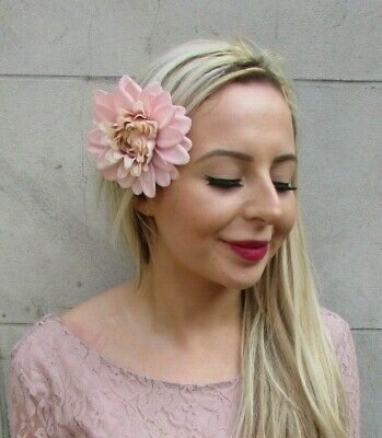Blush Nude Pink Dahlia Rose Flower Hair Clip Fascinator Floral Bridesmaid 7160