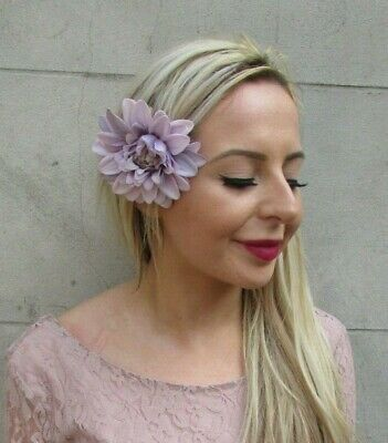 Lilac Lavender Dahlia Rose Flower Hair Clip Fascinator Floral Bridesmaid 7161