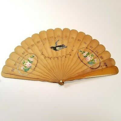 Ladies Folding Fan 1867 Pichel Signed Antique Victorian Wooden Hand Painted