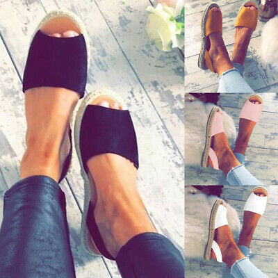 Womens Ladies Flatforms Wedge Espadrille Sandals Open Toe Ankle Shoes Size 3.5-8