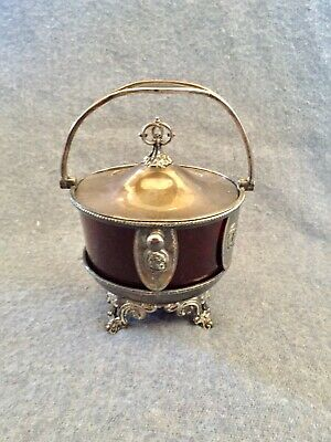 Hall Elton & Co Wallingford cranberry ruby glass silverplate Pickle Castor